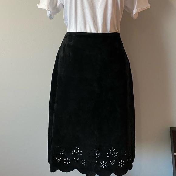 Siena Studio Dresses & Skirts - Genuine leather black suede skirt size 8